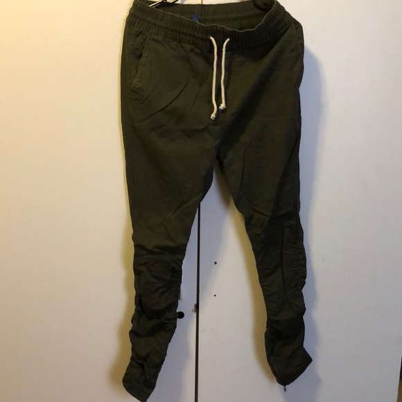 dff5dab58703d H&M Pants | Hmhm Fog Olive Drop Crotch Jogger Zipper Pant | Poshmark